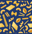 realistic pasta types pattern or background vector image vector image