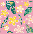 seamless pattern hand drawn plumeria tropical vector image