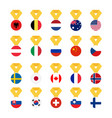 set national flags of the world isolated on white vector image vector image