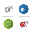 sewing buttons and needle with thread icon vector image vector image