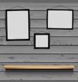 shelf photo frames wooden background vector image vector image