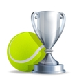 Silver trophy cup with a Tennis ball vector image vector image