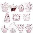 Sketchy set of hand drawn cupcakes vector image