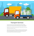 small trucks drive on the road poster vector image