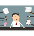 Stressed cartoon businessman has a lot of work vector image vector image