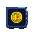 strongbox open with bitcoin currency inside vector image