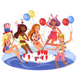 students pool party poster vector image vector image