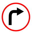 turn right sign on white background turn right vector image vector image