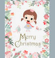 vintage cute merry christmas girl in flower frame vector image
