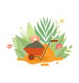 wheelbarrow for gardening or construction vector image vector image