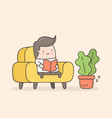 young man reading a book in cozy living room vector image vector image