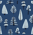 seamless pattern with various hand drawn winter vector image