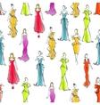 Women in formal wear seamless pattern background vector image