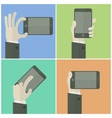 Mobile in hands on color business concept vector image