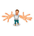 a happy man holds out his hands vector image vector image