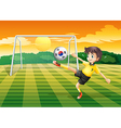a soccer player using ball with flag of vector image vector image