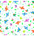 birds and butterflies seamless pattern vector image