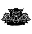 black silhouette of panther vector image vector image