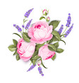 blooming spring flowers garland of purple roses vector image vector image