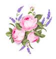 blooming spring flowers garland purple roses vector image vector image