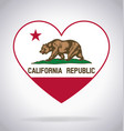 california ca state flag in heart shape symbol vector image