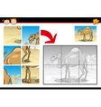 cartoon camel jigsaw puzzle game vector image vector image