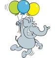 cartoon elephant holding balloons vector image