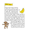 cartoon monkey maze game vector image