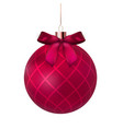 christmas ball with ball and ribbon on white vector image vector image