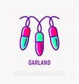 christmas lights garland thin line icon vector image