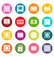 computer chips icons set colorful circles vector image vector image