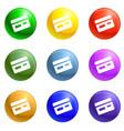 credit card bank icons set vector image