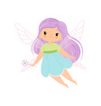 cute little winged fairy with long lilac hair vector image vector image