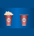 empty and full popcorn in a red striped bucket box vector image