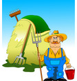 farmer and haystack vector image vector image