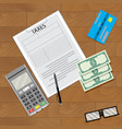 finance tax and credit card machine vector image vector image