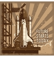flat rocket is ready for vector image vector image