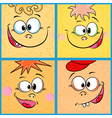 Four funny cartoon faces vector image