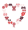 Frame heart of red ribbons vector image vector image