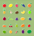 fruit silhouettes stickers vector image