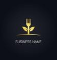 gold fork leaf vegan logo vector image vector image