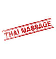 grunge textured thai massage stamp seal vector image