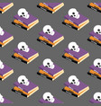 halloween spell book seamless pattern vector image