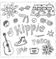 hand drawn doodle cartoon set of hippie vector image vector image