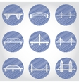 isolated bridges big icons set vector image vector image