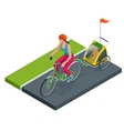 Isometric Bicycle with Kids Bike Trailer vector image vector image
