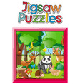 jigsaw puzzle game with wild animals in jungle vector image