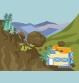 landslide the building is falling asleep with vector image vector image