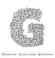 letter g symbol of white leaves vector image vector image
