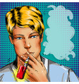 man smoking e-cigarette vape pop rt comic style vector image vector image
